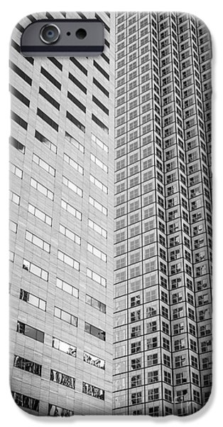 Concrete Jungle iPhone Cases - Miami Architecture Detail 2 - Black and White iPhone Case by Ian Monk