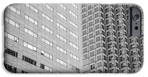 Built Structure iPhone Cases - Miami Architecture Detail 2 - Black and White - Square Crop iPhone Case by Ian Monk