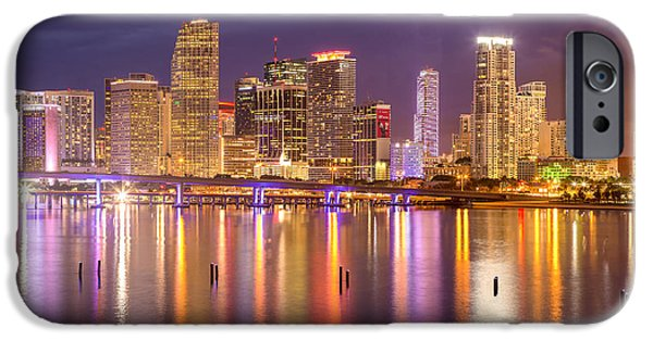 Bay Bridge iPhone Cases - Miami Coming Alive at Dusk iPhone Case by Rene Triay Photography