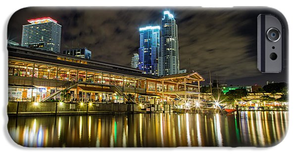 Cityscape iPhone Cases - Miami Bayside at night iPhone Case by Andres Leon