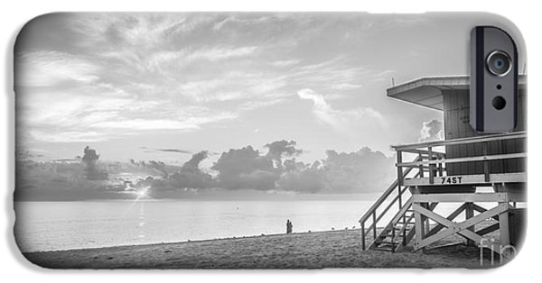 Ianmonk iPhone Cases - Miami Beach - 74th Street Sunrise - Panoramic - Black and White iPhone Case by Ian Monk
