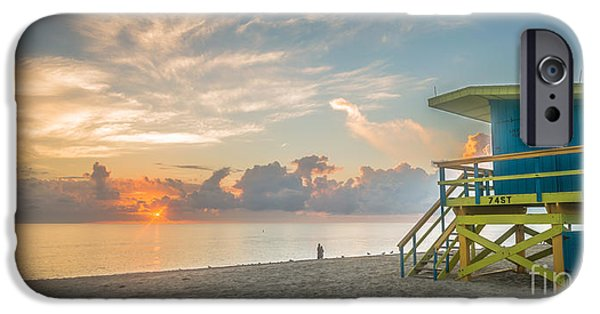 Ianmonk iPhone Cases - Miami Beach - 74th Street Sunrise - Panoramic iPhone Case by Ian Monk