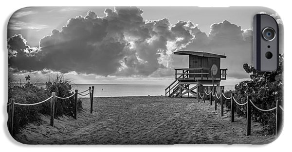 Ianmonk iPhone Cases - Miami Beach Entrance Sunrise - Black and White iPhone Case by Ian Monk