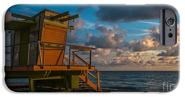 Daybreak iPhone Cases - Miami Beach Lifeguard Station Glows from the First Light of Day - Panoramic iPhone Case by Ian Monk