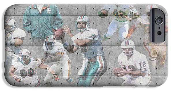 Recently Sold -  - Santa iPhone Cases - Miami Dolphins Legends iPhone Case by Joe Hamilton
