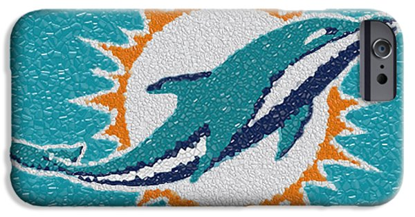 Miami Digital Art iPhone Cases - Miami Dolphins Mosaic iPhone Case by Jack Zulli