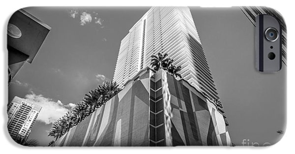 Concrete Jungle iPhone Cases - Miami Downtown Buildings - Miami - Florida - Black and White iPhone Case by Ian Monk