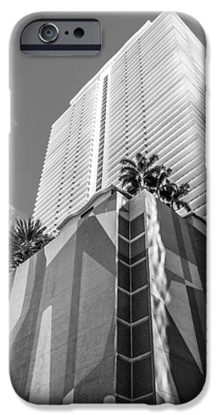 Miami Downtown Buildings - Miami - Florida - Black and White iPhone Case by Ian Monk