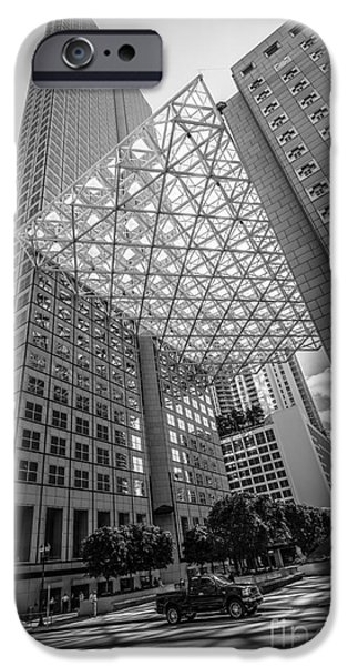 Concrete Jungle iPhone Cases - Miami Downtown Shadow play - Black and White iPhone Case by Ian Monk