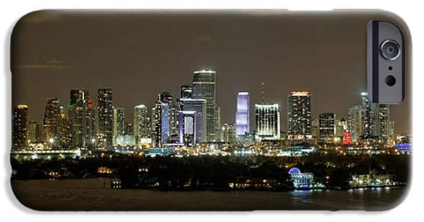 Skyline Pyrography iPhone Cases - Miami Evening iPhone Case by Nate Garner