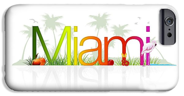 Miami Drawings iPhone Cases - Miami- Florida iPhone Case by Aged Pixel