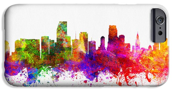 Miami Digital Art iPhone Cases - Miami Florida skyline iPhone Case by Aged Pixel