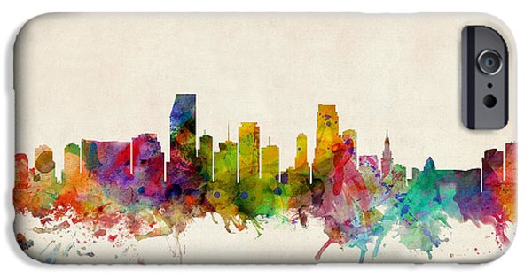 States iPhone Cases - Miami Florida Skyline iPhone Case by Michael Tompsett