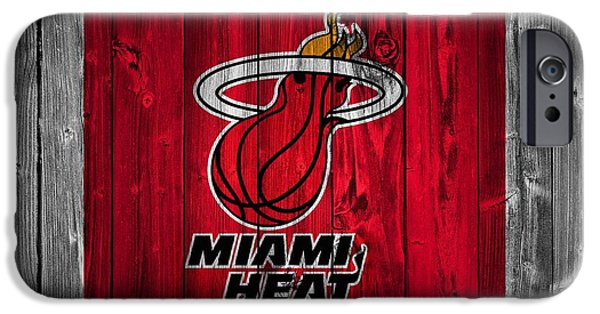 Lebron Mixed Media iPhone Cases - Miami Heat Barn Door iPhone Case by Dan Sproul