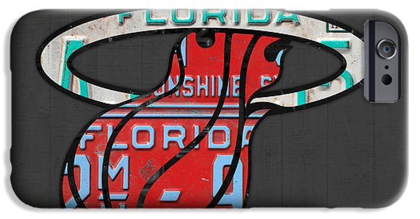 Miami Heat iPhone Cases - Miami Heat Basketball Team Retro Logo Vintage Recycled Florida License Plate Art iPhone Case by Design Turnpike