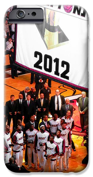Dwyane Wade iPhone Cases - Miami Heat Championship Banner iPhone Case by J Anthony
