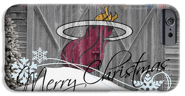 Basket iPhone Cases - Miami Heat iPhone Case by Joe Hamilton