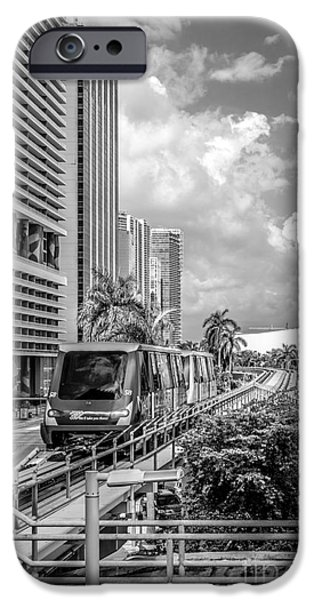 Approaching iPhone Cases - Miami Metro Mover approaching station - Black and White iPhone Case by Ian Monk