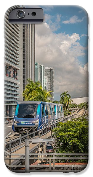 Approaching iPhone Cases - Miami Metro Mover approaching station - HDR Style iPhone Case by Ian Monk