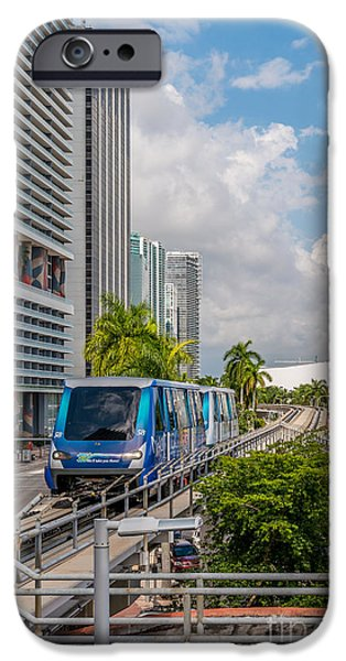 Approaching iPhone Cases - Miami Metro Mover approaching station iPhone Case by Ian Monk