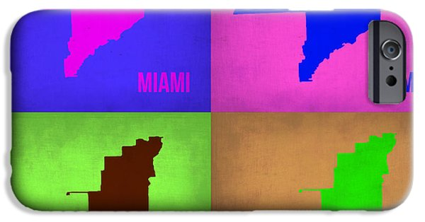 Miami Digital Art iPhone Cases - Miami Pop Art Map 1 iPhone Case by Naxart Studio