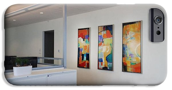 Etc. Paintings iPhone Cases - Miami Rythym Triptych iPhone Case by Sheila Elsea