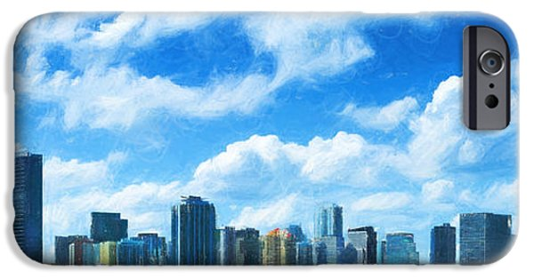 Finance Drawings iPhone Cases - Miami Skyline iPhone Case by Carsten Reisinger