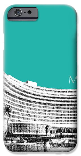 Pen And Ink Digital Art iPhone Cases - Miami Skyline Fontainebleau Hotel - Teal iPhone Case by DB Artist