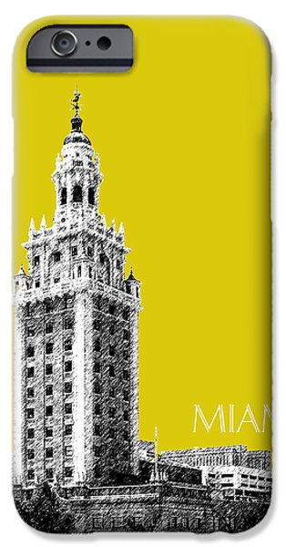 Pen And Ink iPhone Cases - Miami Skyline Freedom Tower - Mustard iPhone Case by DB Artist
