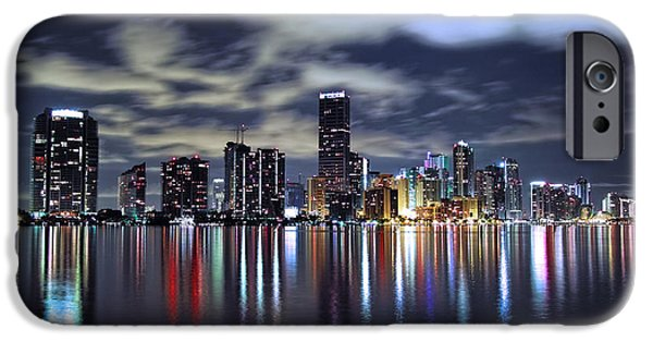 Miami Photographs iPhone Cases - Miami Skyline iPhone Case by Gary Dean Mercer Clark