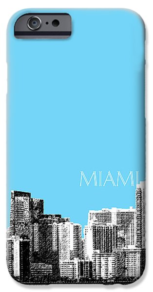 Pen And Ink iPhone Cases - Miami Skyline - Sky Blue iPhone Case by DB Artist