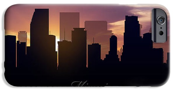 Miami Digital Art iPhone Cases - Miami Sunset iPhone Case by Aged Pixel