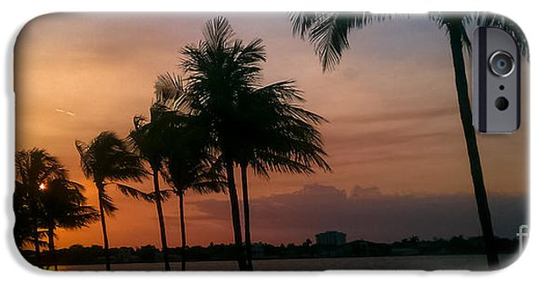 A Summer Evening Landscape iPhone Cases - Miami Sunset iPhone Case by Charlie Cliques