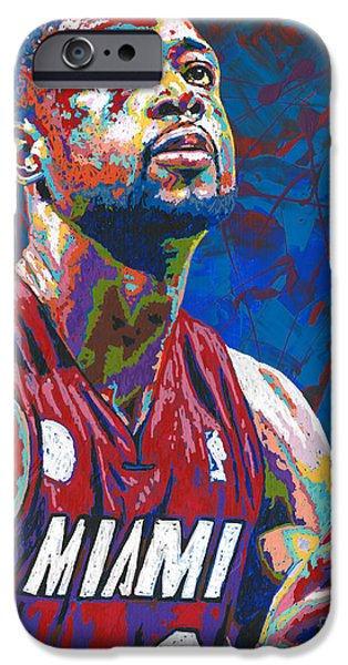 D Wade Paintings iPhone Cases - Miami Wade iPhone Case by Maria Arango