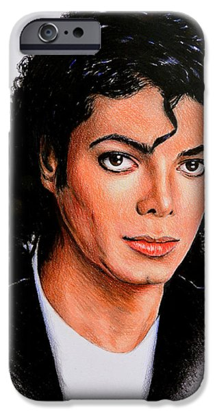 Michael Jackson Sketch iPhone Cases - Michael iPhone Case by Andrew Read
