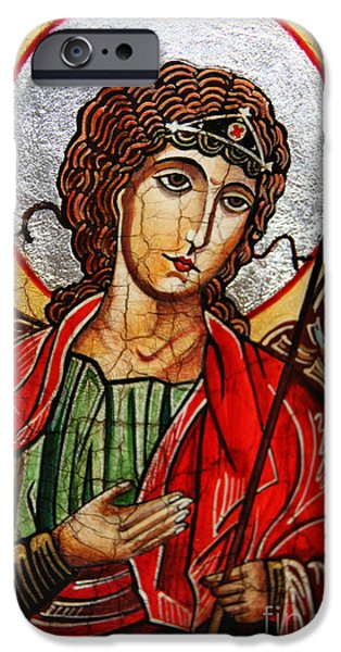 Michael Paintings iPhone Cases - Michael Archangel iPhone Case by Ryszard Sleczka