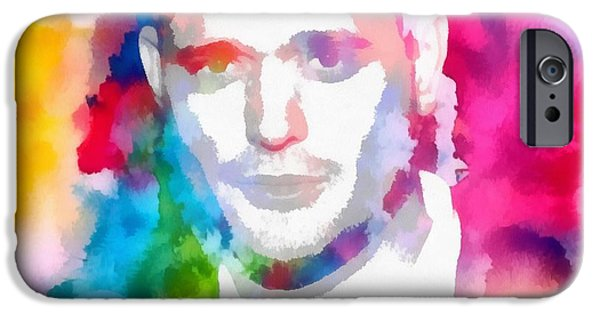 Michael Mixed Media iPhone Cases - Michael Buble Watercolor Portrait iPhone Case by Dan Sproul