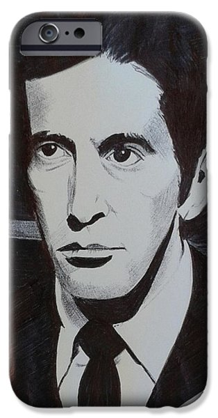 Michael Corleone Drawings iPhone Cases - Michael Corleone iPhone Case by Damien Wilson