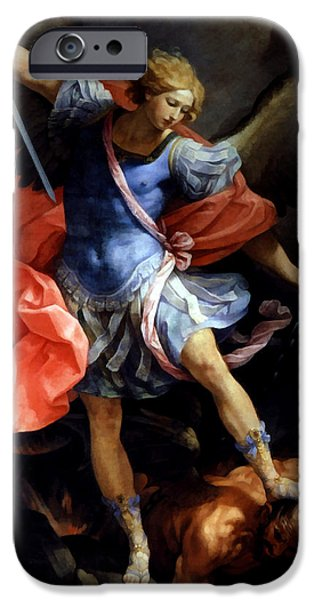 The Followers iPhone Cases - Michael Defeating Satan iPhone Case by Guido Reni