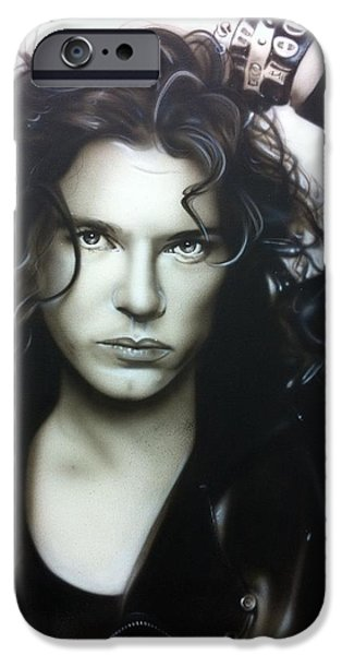 Michael Paintings iPhone Cases - Michael Hutchence iPhone Case by Christian Chapman Art