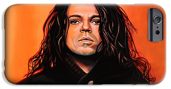 Celebrities Art iPhone Cases - Michael Hutchence iPhone Case by Paul Meijering
