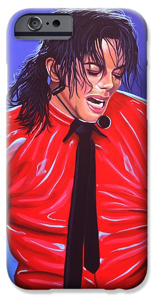 King Of Pop iPhone Cases - Michael Jackson 2 iPhone Case by Paul Meijering