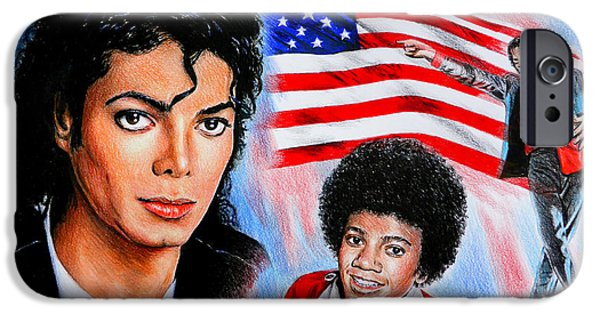 4th July Drawings iPhone Cases - Michael Jackson American Legend iPhone Case by Andrew Read