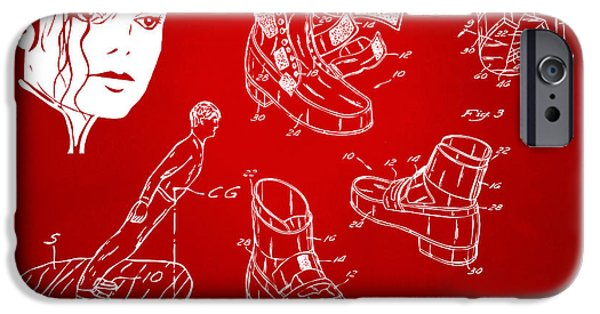 Smooth Criminal iPhone Cases - Michael Jackson Anti-Gravity Shoe Patent Artwork Red iPhone Case by Nikki Marie Smith