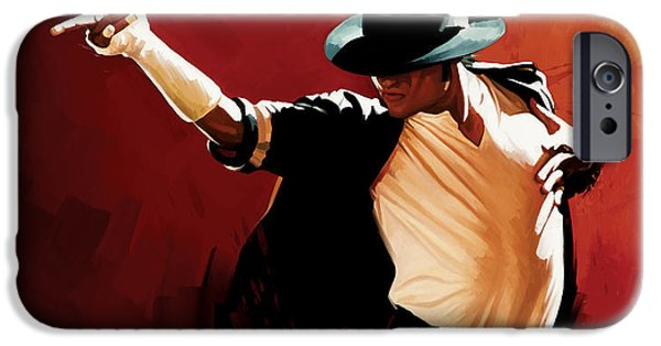 Musician Art iPhone Cases - Michael Jackson Artwork 4 iPhone Case by Sheraz A