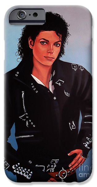 Idol Paintings iPhone Cases - Michael Jackson Bad iPhone Case by Paul  Meijering