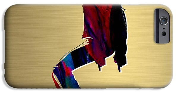 King Of Pop. Dancer iPhone Cases - Michael Jackson Gold Series iPhone Case by Marvin Blaine