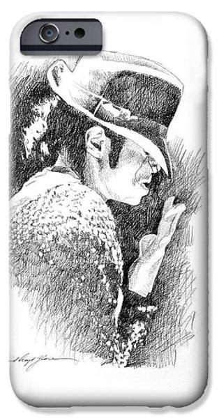 Michael Jackson Sketch iPhone Cases - Michael Jackson Hat iPhone Case by David Lloyd Glover