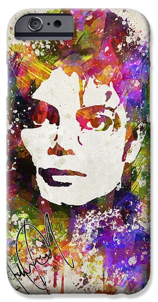 King Of Pop iPhone Cases - Michael Jackson in Color iPhone Case by Aged Pixel