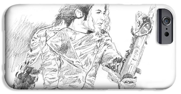Celebrity Drawings iPhone Cases - Michael Jackson Intensity iPhone Case by David Lloyd Glover